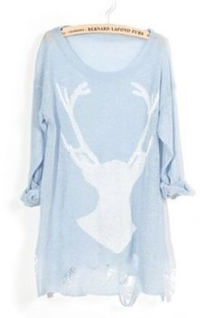 Light Blue Deer Distressed Long Sleeve Jumper www.dieselpowergear.com #womens #womensfashion #country #countrygirl #dieselpowergear #dp #diesel #girlsclothes #girlsfashion #shoes #womensshoes #womensclothes #womensshirts #hats #shorts #clothes #swimsuits #womensoutfits #merica #usa #boots #cowboyboots #belts #jewelry #cowgirl #cowboy