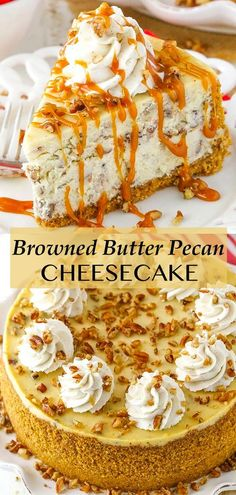 This Browned Butter Pecan Cheesecake recipe is made with toasted buttered pecans and browned butter for a homemade cheesecake that's full of flavor and perfect for fall! I'm totally in love! Butter Pecan Cheesecake Recipe, Homemade Cheesecake, Easy Cheesecake Recipes, Vegan Cheesecake, Fall Dessert Recipes, Fall Desserts, Fall Recipes, Delicious Desserts, Fall Food