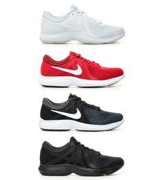 online store ce236 1ea14 Nike - Chaussures de course Revolution 4 Homme Blanc Rouge Noir Vert Bleu  Tissu