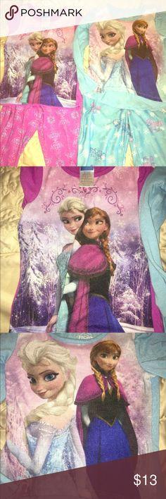 Disney Frozen Anna Elsa Girls 2 Pc Pajamas Set Lot 2 Disney Frozen Anna Elsa Girls 2 Pc Blue And Pink Fleece Pajamas Set Childs size XS 4/5. Lightly used. Disney Intimates & Sleepwear Pajamas