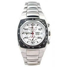Casio EF505D-7A Edifice Mens Stainless Steel Dress Watch Chronograph White Dial