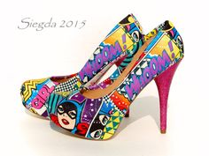 These vibrant heels pay homage to some of our favorite Superladies. Featuring Wonder Woman, Supergirl, and Batgirl, these pumps can go along with any