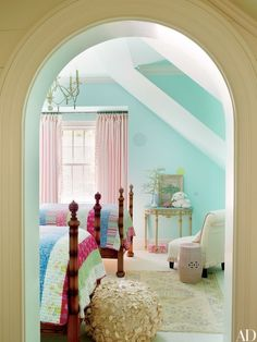 Designer Suzanne Kasler and architecture firm Spitzmiller & Norris created this enchanting haven at Tennessee's Blackberry Farm, where a daughter's room is painted in Benjamin Moore's Crystal Clear; the carpeting is by Stark | archdigest.com