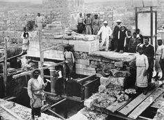 Sir Arthur Evans restoring the grand staircase at Knossos, 1900