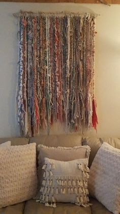 Very unique and one of a kind wall art! wooden hanging art made out of wooden dowels wrapped with yarn and rope. each dowel is handcrafted then added to a thicker wooden dowel and it is also wrapped with yarn. Weaving Wall Hanging, Wire Weaving, Wall Hangings, Shabby Chic Garland, Shabby Chic Crafts, Easy Yarn Crafts, Fabric Crafts, Knitting Yarn Diy, Weaving Projects