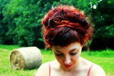 #red #ombre #hair #messy #bun #copper #grenadine