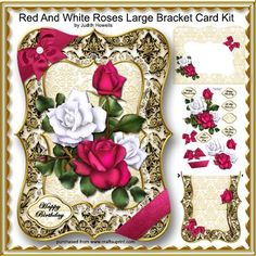 Red And White Roses Large Bracket Card Kit by Judith Mary Howells A large card measuring 9.25 x 6.75 inches featuring a beautiful bouquet of roses with decoupage pieces, insert/card back and envelope.  Optional greeting plates for HAPPY BIRTHDAY, TO MY VALENTINE, ON YOUR WEDDING DAY, ON MOTHER'S DAY, HAPPY ANNIVERSARY and BLANK for any other wording/occasion are included.  There are 5 sheets in the kit: 1 Card Front, 1 Card Back/Insert, 1 Decoupage Sheet, 1 Envelope Front and 1 Envelope Back