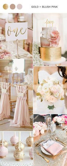 2017 the Best Gold Wedding Colors Combos Trends is part of Gold wedding colors As an elegant and luxurious wedding color, gold is hot and popular, especial for the new year 2017 wedding trends And - Pink Wedding Colors, Pink And Gold Wedding, Blush Pink Weddings, Blush And Gold, Wedding Color Schemes, Champagne Wedding Colors, Blush Bridal, Peach Wedding Theme, Wedding Flowers