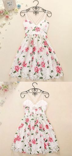 Spaghetti Straps Homecoming Dresses,Floral Homecoming Dresses,White Lace Homecoming Dresses,Short Homecoming Dresses,Homecoming Dresses 2017