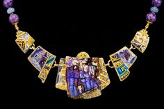 Marianne Hunter On Mesas and Canyon Walls Enamel over Foils, Fossil Wood Opal, METALS: 24K•14K•Argentium Silver Beads: Charoite, Chalcedony, 20k