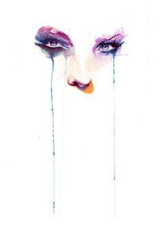 Marion Bolognesi. Watercolor. «No tengas vergüenza de llorar. Hace bien. Elimina toxinas. Por eso las mujeres vivimos más que los hombres. Porque lloramos más» —Mario Benedetti. La borra del café.