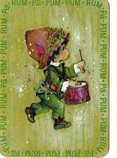 Vintge MARY HAMILTON XMAS Card DRUMMER BOY RUM PA PUM PUM Hallmark Greeting 1969