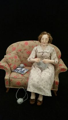 Knitting for victory . 12th scale miniature doll www.juliecampbelldollartist.co.uk