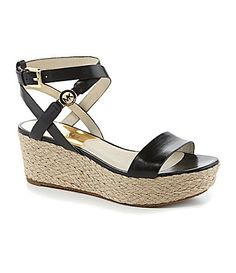 "MICHAEL Michael Kors Jalita Charm Espadrille Flatforms #Dillards. Love this ankle strap AND the heel is only 2.5"" with a 1.25"" platform. Perfect for me."