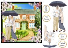 This happy couple have found their dream home. Decoupage the couple. Ideal for wedding anniversaries, retirement, birthdays, new home and many more. Happy Anniversary, Wedding Anniversary, Congratulations On Your Retirement, Printable Crafts, Card Designs, Decoupage, Birthdays, Card Making
