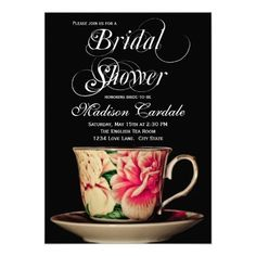 English Teacup Bridal Shower Invitations SOLD on Zazzle