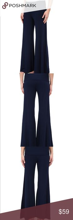 ⚡️Sale Sale⚡️XCVI Ultra Wide Leg Palazzo Pants Deep Blue Xcvi Ultra WideLeg Palazzo Pants, Spandex mix, Extra comfortable fit, Fold Over Waist, NWOT.💕92% Rayon, 8% Spandex. These Xcvi' pants have a flowy' wide-leg flare, very comfortable. 🤗💕 I absolutely love these, I have a pair of my own. Inseam 30' inches and the Waist is 17' inches lying flat. These have a wide stretch fold over waistband. XCVI Pants Wide Leg