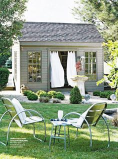 Garden shed, since I'm not a very good gardner, i think i would put table and chairs for outdoor eating :)