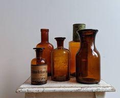 Five Vintage Amber Bottles - Byske Vintage Home Goods Amber Bottles, Bottles And Jars, Amber Glass, French Industrial Decor, Apothecary Bottles, Vintage Bottles, Antique Clocks, Glass Collection, French Vintage