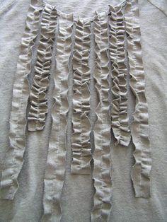 DIY tutorial for vertical ruffled shirt