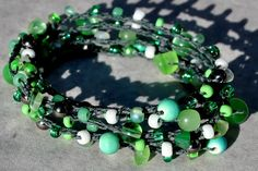 Mint Green 5X Beaded Crochet Bracelet, Beach Boho Coastal Bracelet - by SeaSide Strands