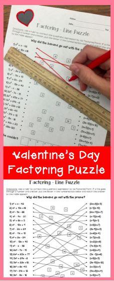 Factoring Quadratic Expressions Line Puzzle Activity. Great algebra review!