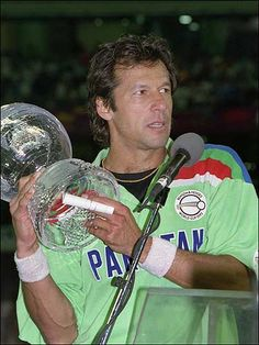 Imran Khan with 1992 Cricket World Cup Trophy