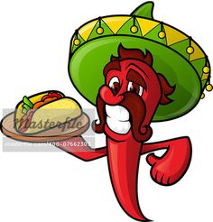 Mexican Pepper holds a tray of tacos. Cheerful character chili pepper with a mustache. Mexican Chef, Mexican Burger, New Mexican, Cactus Cartoon, Food Cartoon, Food Cart Business, Taco Images, Vegetable Cartoon, Food Promotion