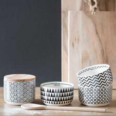 Coupelle zigzag en faïence blanche/noire BLACK & WHITE | Maisons du Monde