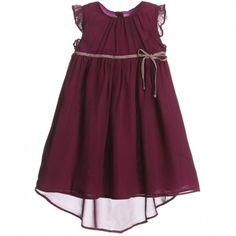 Marie-Chantal - Purple Crepe Silk Dress | Childrensalon