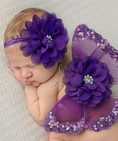 baby memorabilia Look at this Purple Beaded Glitter Wing Set by Nest Of Many Colors