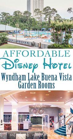 How to find an affordable Disney hotel- Wyndham lake buena vista garden room review. Great tips for Disney on a budget and budget Disney tips.   Wyndham Garden Disney Springs- An Affordable Disney Hotel http://eatdrinkandsavemoney.com/2017/05/10/wyndham-garden-disney-springs-an-affordable-disney-hotel/