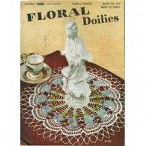Vintage 40s Flower Doilies Crochet Patterns Apple Blossom Wild Rose