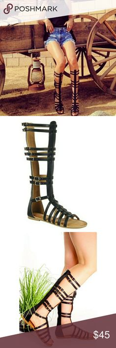 RESTOCKED NWT BLACK GLADIATOR SANDALS -Hi gladiator sandals  -Side straps with buckle details  -low heel  -black  -very versatile  -can be worn with any outfit  -faux leather sandals with back zipper  -cushioned sole  SUPER COMFY Shoes Sandals