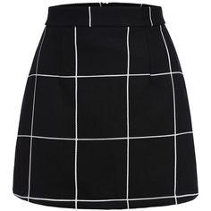 Black Plaid Mini Skirt (47 BRL) ❤ liked on Polyvore featuring skirts, mini skirts, bottoms, short plaid skirt, above the knee skirts, plaid skirt, mini skirt and tartan skirt