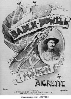 ROBERT BADEN-POWELL (1857-1941) British army officer and founder of the Scout movement on sheet music about 1900 - Stock Image