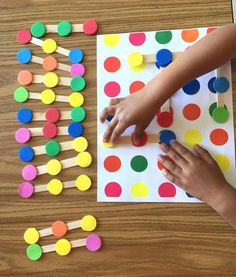 Attn: the photo shows a prototype, there is no cut off on final product and it comes with 20 tri color sticks, color dots are made of sturdy but soft colored foam. The set includes color dots mat and 20 tri color dot wooden sticks for matching in all directions. This is a highly intellectual game for advanced eye c