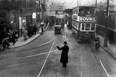 Pointsman with Tram, Dublin. Dublin Street, Dublin City, Old Pictures, Old Photos, Vintage Photos, Photo Engraving, Ireland Homes, Emerald Isle, Dublin Ireland