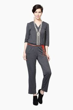 949d2bddd43  Pantaloons grey jumpsuit  jumpsuit  work outfit  indian office fashion   vipazza