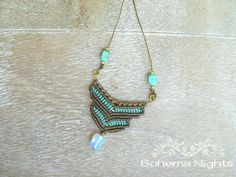 Micro Macrame Handmade Necklace micro macrame by BohemaNights