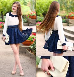 01ae0e863d Kristines Collection Lace Navy Blue Skirt