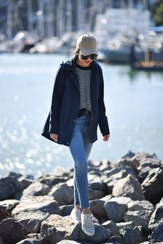 9 to 5 Chic in Bernardo A-Line Utility Jacket in Navy