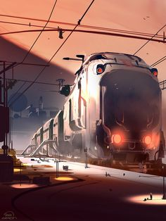 Uber cool train!  Looks like it's multiple stories high.  Fantastic idea and artwork!