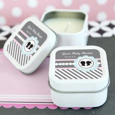 Gender Reveal Party Personalized Square Candle Tins