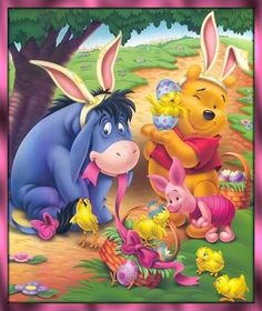 Eeyore Enjoying The Easter Holiday With His Friends Dressed As Bunnies!