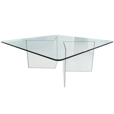 Square Dining Table in Lucite and Glass | From a unique collection of antique and modern dining room tables at https://www.1stdibs.com/furniture/tables/dining-room-tables/