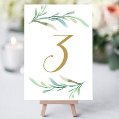 "Free Printable Table Numbers for your Wedding Tables.  Download and print these 5x7"" table numbers, 2 per page. Numbers 1 to 6 - free PDFs to download and print"