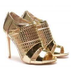 Peeps, Peep Toe, Gold, Shoes, Fashion, Moda, Zapatos, Shoes Outlet, Fashion Styles