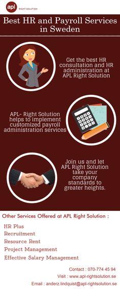 APL - Right Solution hjälper till att skaffa ett effektivt HR-plus och löneadministrativa system i Sverige. Tillsammans med andra HRoch lönetjänster kan också erbjuda sakkunnig rådgivning och praktisk hjälp med alla frågor som kan påverka din verksamhet.