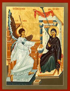 Ευαγγελισμός Annunciation (by Athina Alexopoulou Pappa) Religious Icons, Religious Art, Greek Icons, Social Themes, Images Of Mary, The Son Of Man, Madonna And Child, Catholic Art, Art Icon